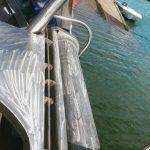 Closeup mounted bespoke gunnel roller