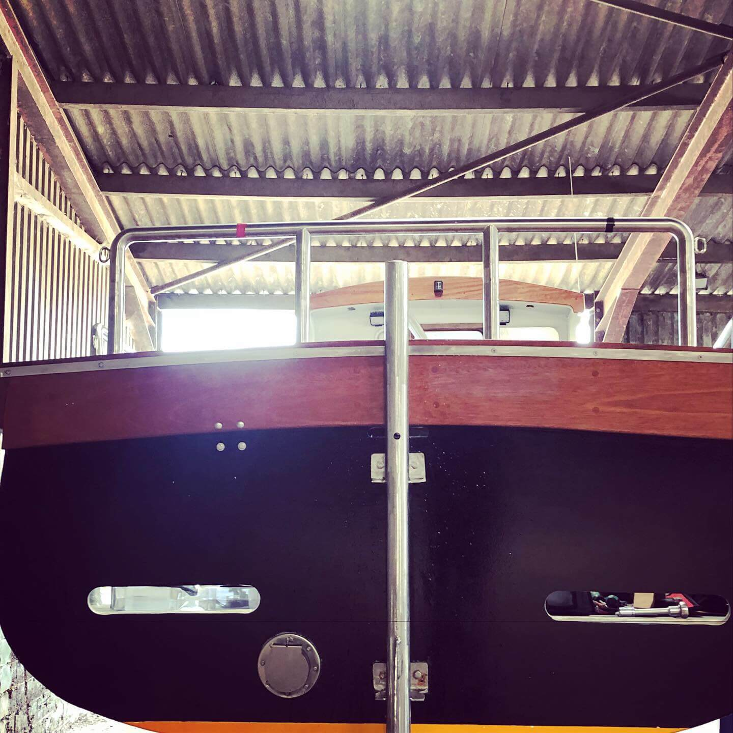 Boat stern with SM Engineering's rudder