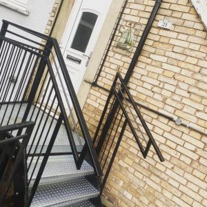 Purpose built powder coated hand rails
